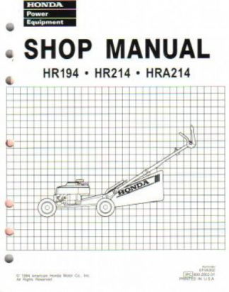 Official Honda HR194 HR214 HRA194 And HRA214 Lawn Mower Shop Manual
