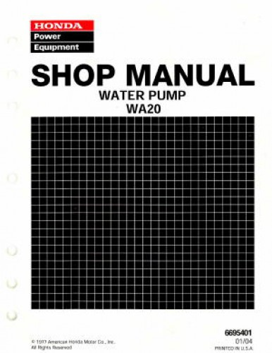 Official Honda WA20 Water Pump Shop Manual