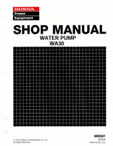 Official Honda WA30 Water Pump Shop Manual