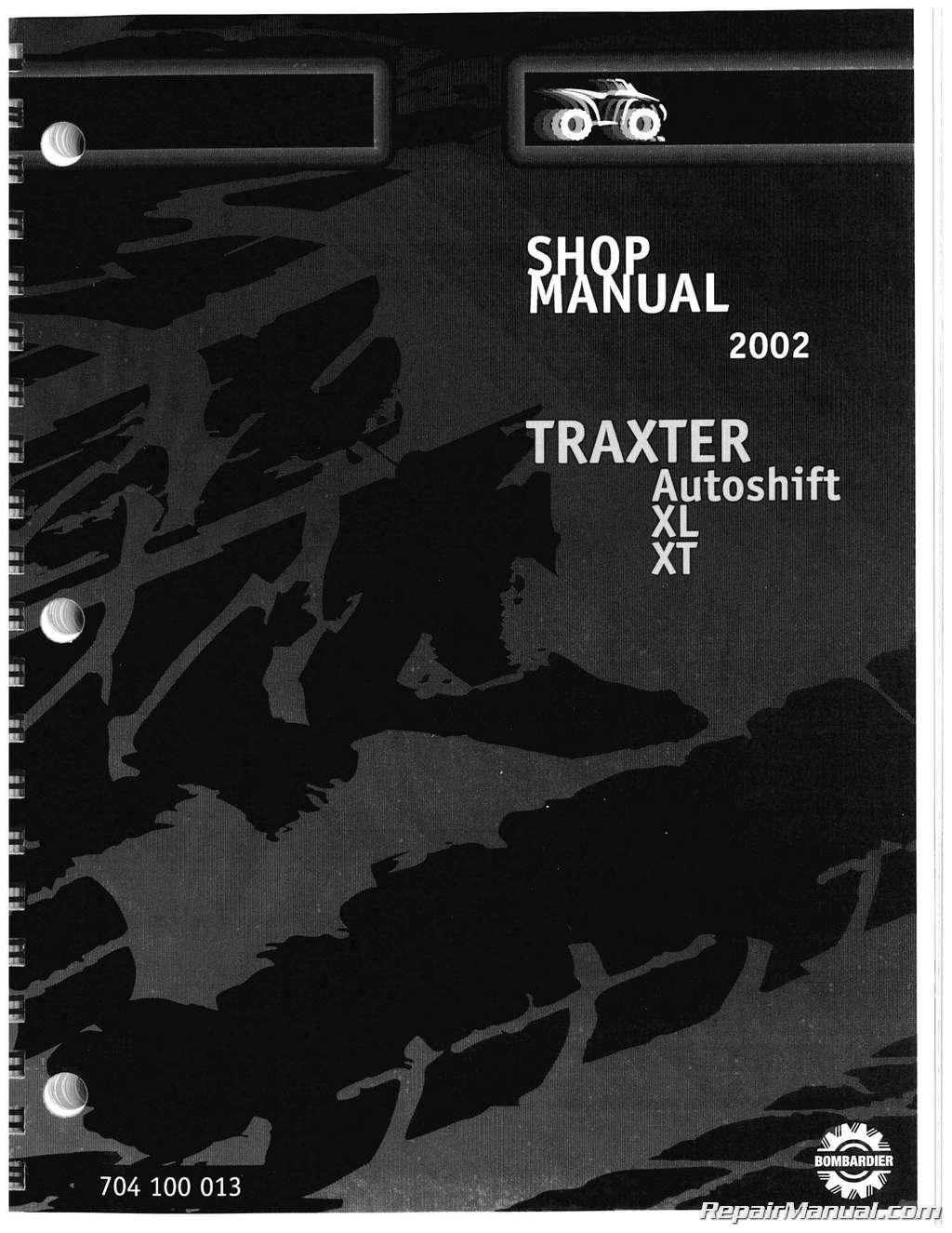 2002 Bombardier Traxter Autoshift Xl Xt Atv Service Manual
