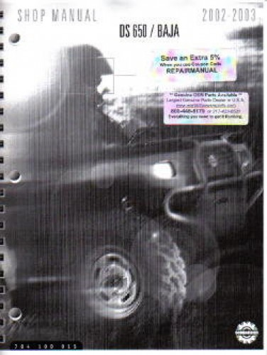 Official 2002-2003 Bombardier DS 650+Baja Factory Service Manual