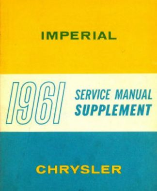 Chrysler Imperial Service Manual Supplement 1961