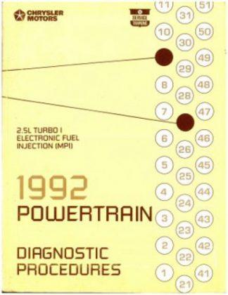 1992 Chrysler Motors Powertrain Diagnostic Procedures Manual Used