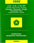 Chrysler Plymouth and Dodge Passenger Cars Powertrain Diagnostic Procedures Manual 1998 Used