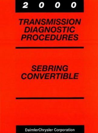 Chrysler Sebring Convertible Transmission Diagnostic Procedures Manual 2000 Used