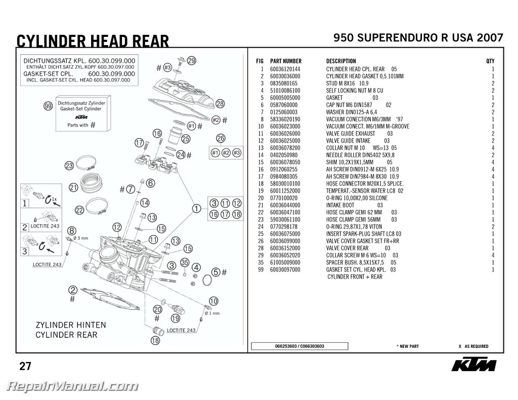 2007 ktm 950 superenduro r engine spare parts manual