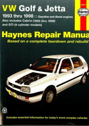 Haynes VW Golf GTI Jetta 1993-1998 VW Cabrio 1995-1998 Auto Repair Manual