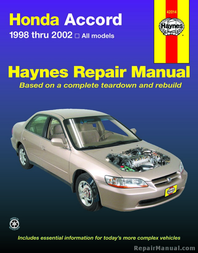 haynes honda accord 1998 2002 repair manual rh repairmanual com 2004 honda accord repair manual downloadable 2004 honda accord repair manual