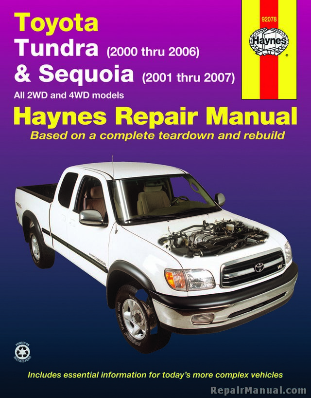 haynes 2000 2006 toyota tundra 2001 2007 sequoia repair manual. Black Bedroom Furniture Sets. Home Design Ideas