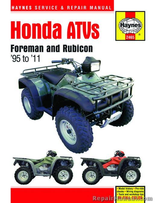haynes honda foreman trx400 trx450 rubicon trx500 1995-2011 repair manual