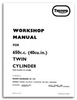 Triumph 650 Twin Cylinder Motorcycle Workshop Manual