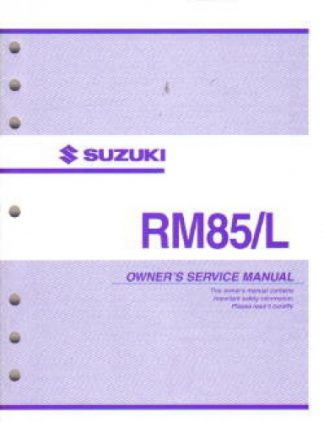 Official 2003 Suzuki RM85 Factory Owners Service Manual
