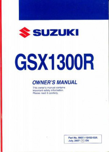 2008 suzuki gsx1300r k8 hayabusa motorcycle owners manual rh repairmanual com 2012 Hayabusa Horsepower 2012 Hayabusa Colors