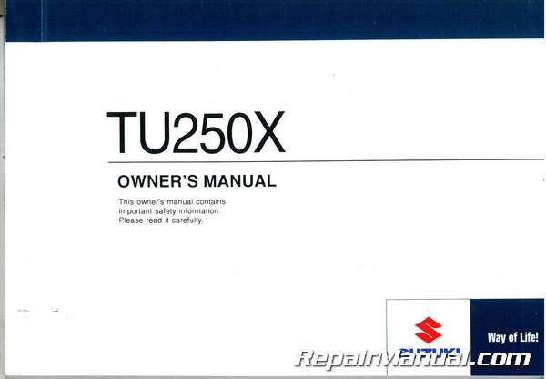 2011 suzuki tu250x motorcycle owners manual rh repairmanual com suzuki owners manuals free download suzuki owners manual download
