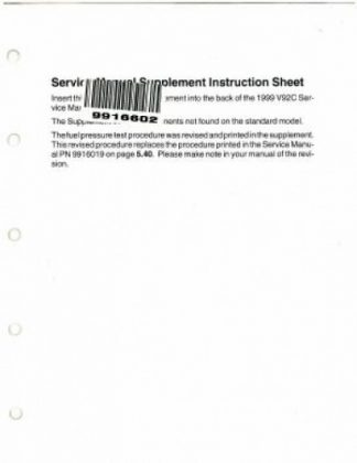 Official 1999 Victory Factory Service Manual Supplement