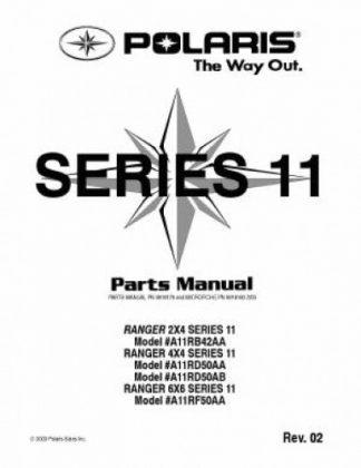 Official Polaris RANGER 2x4 4x4 6x6 Series 11 Factory Parts Manual