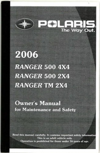 2006 Polaris Ranger 500 2x4 4x4 Ranger Tm 2x4 Owners Manual