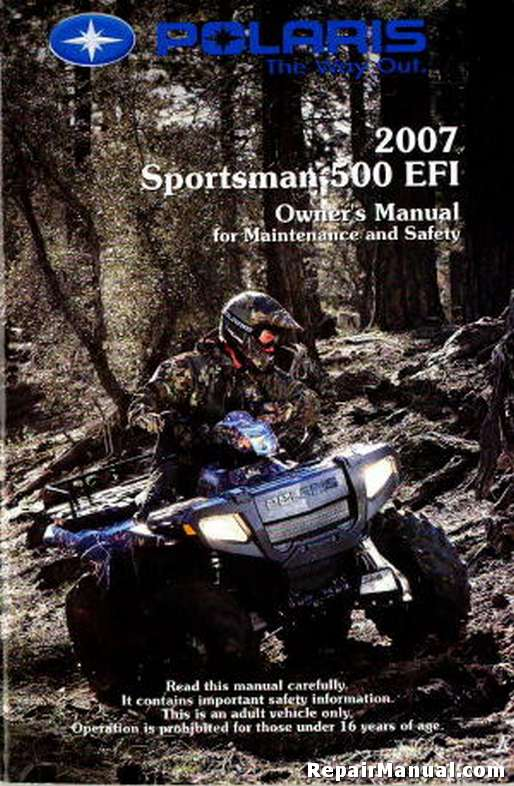Honda Vin Decoder >> 2007 Polaris Sportsman 500 EFI ATV Owners Manual