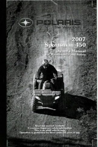Official 2007 Polaris Sportsman 450 Owners Manual