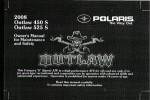 Official 2008 Polaris Outlaw 450 525 Factory Owners Manual