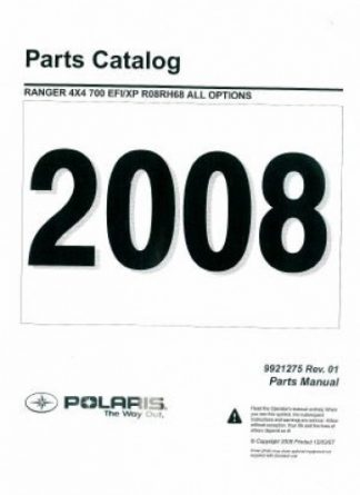 Official 2008 Polaris Ranger Razr 800 Efi Factory Parts Manual 9921207 on 2015 polaris rzr 900 service manual