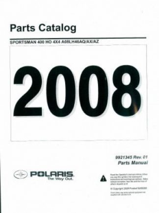 Official 2008 Polaris Sportsman 400 HO 4X4 Factory Parts Manual