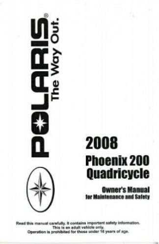 Official 2008 Polaris Quadricycle 200 Factory Owners Manual