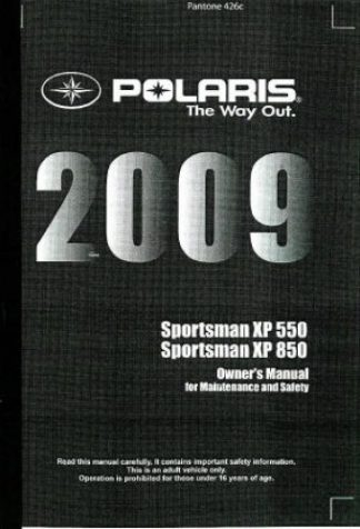 Official 2012-2013 Polaris Sportsman 850 ATV Factory Service Manual