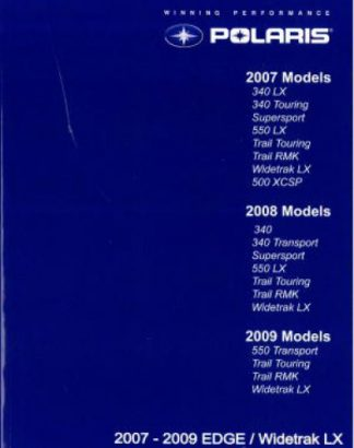 Official 2007-2009 Polaris Edge and Widetrak LX Snowmobile Service Manual