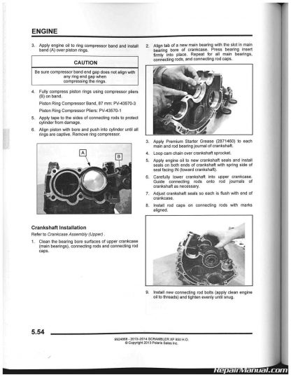 2013 - 2014 Polaris 850 Scrambler XP HO Service Manual