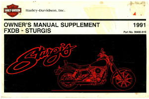 Official 1991 Harley Davidson FXDB Owners Manual Supplement