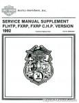 Official 1992 Harley-Davidson FXRP and 1992 Harley-Davidson FLHTP Police Service Manual Supplement