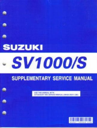 Official 2005 Suzuki SV1000K5 Service Manual Supplement