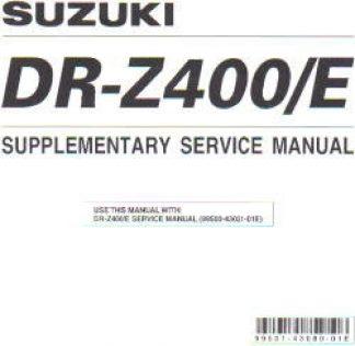 Official 2002 Suzuki DR-Z400EK2 Factory Service Manual Supplement
