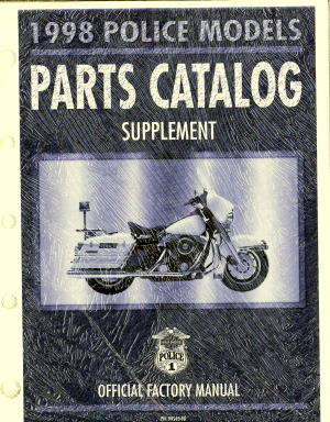 Official 1998 Harley Davidson FLT Police Parts Manual Supplement