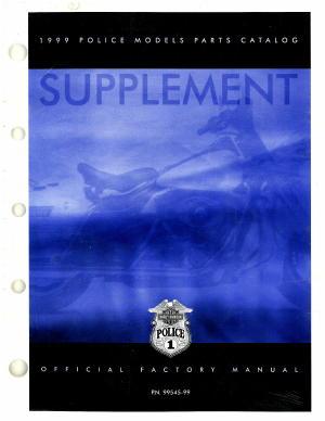 Official 1999 Harley Davidson FLT Police Parts Manual Supplement