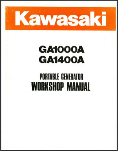 Used Kawasaki Ga1000a Ga1400a Portable Generator Workshop Manual