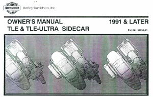 Official 1991 Later Harley Davidson RLE TLE Ultra Sidecar Owners Manual