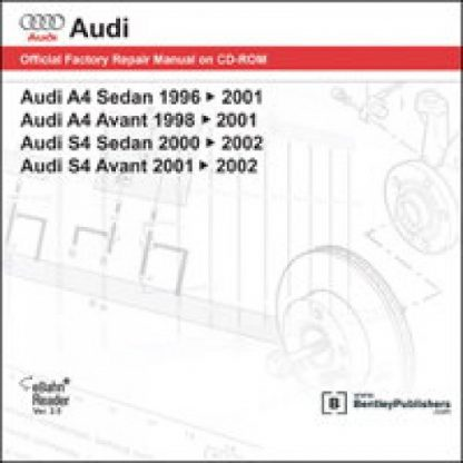 Official Audi A4 S4 1996-2002 Factory Repair Manual on DVD-ROM