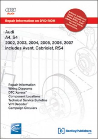 Audi A4 S4 2002-2009 Includes Avant Cabriolet RS4 Repair Information on DVD-ROM