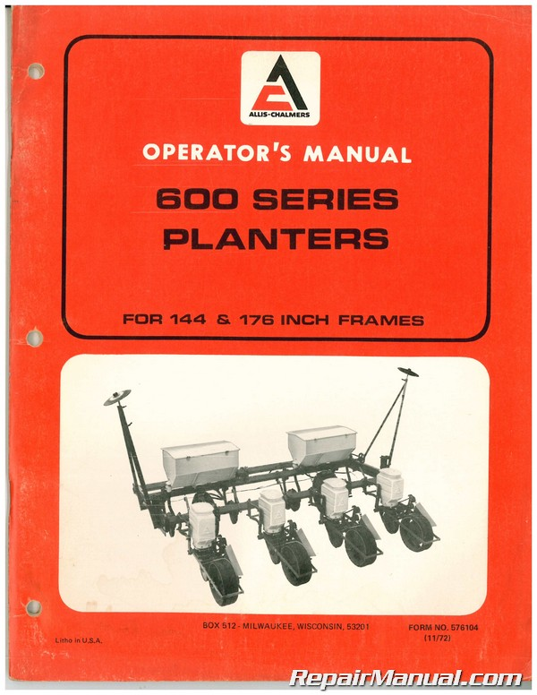 allis chalmers 600 series planters owners manual rh repairmanual com History Allis Chalmers Planters Allis Chalmers Planter Units