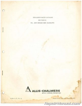 Used Allis-Chalmers MOWBEE MODEL 5 526 532 732 Parts Manual