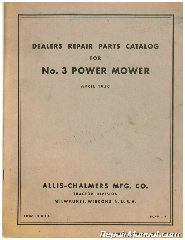 Allis Chalmers Number 3 Power Mower Tractor Parts Manual