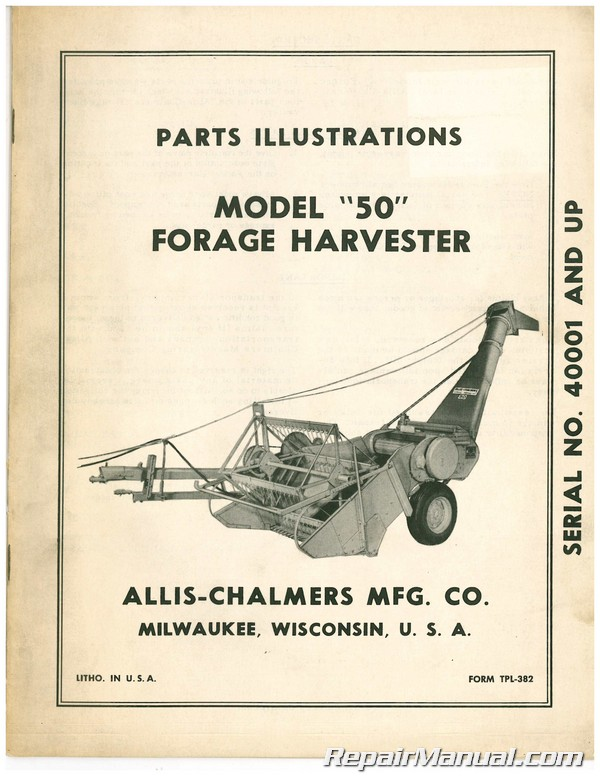 Used Allis-Chalmers Model 50 Forage Harvester Parts Manual