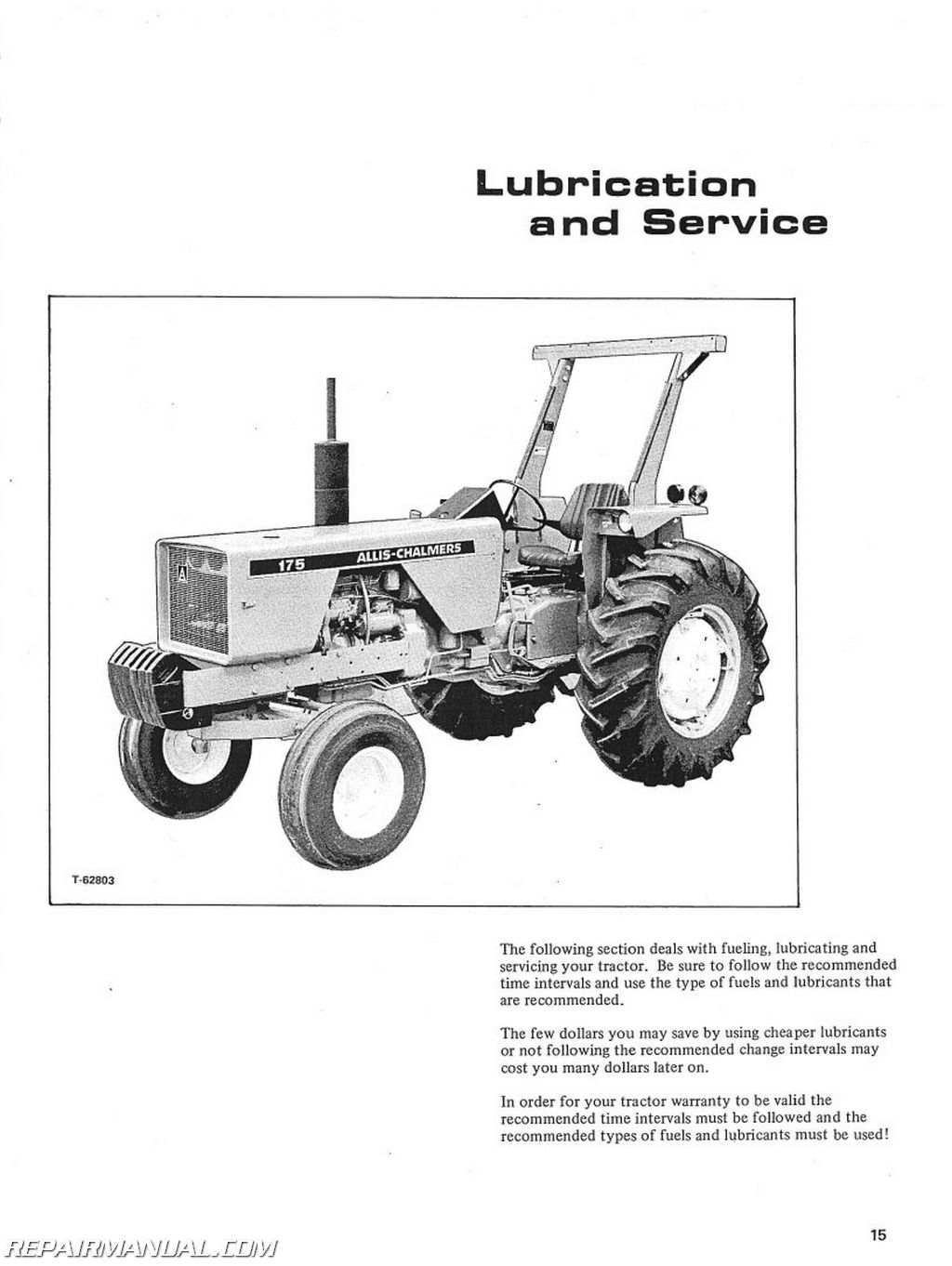 Allis Chalmers 175 Gas And sel Operators Manual on