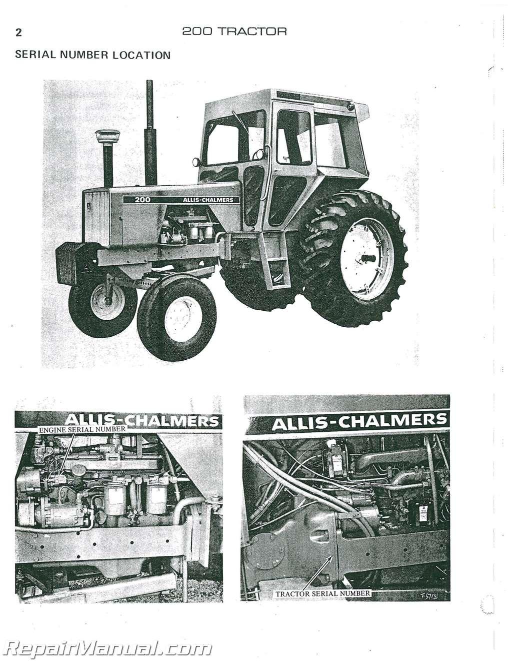 allis chalmers 200 diesel parts manual