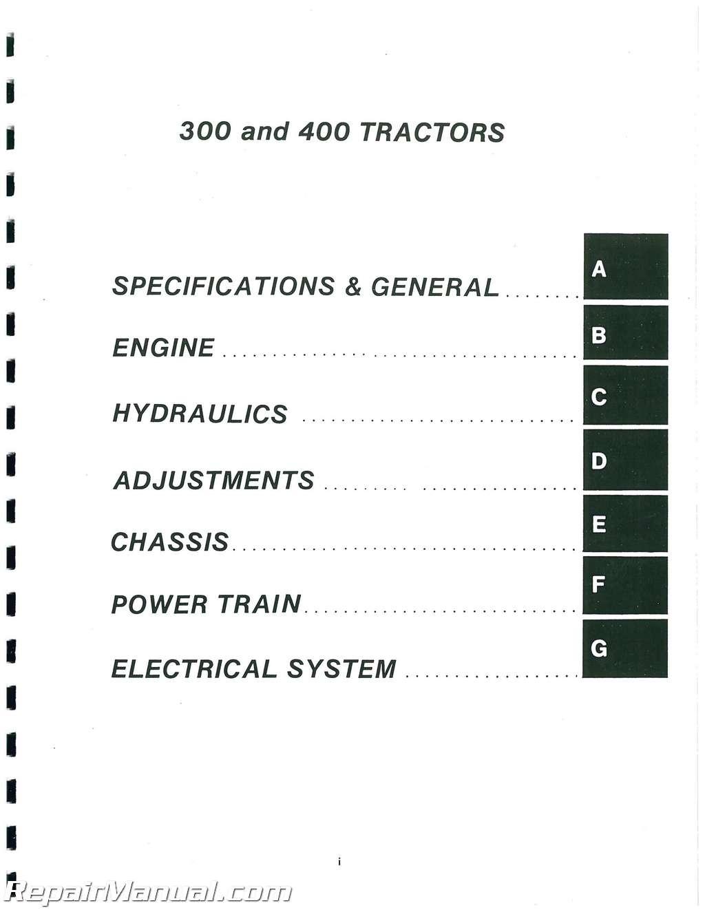 Allis Chalmers 300 310 310 D 312 312 D H 314 314 D H400 410 414 S416 H416 S Lawn  Garden Service Manual