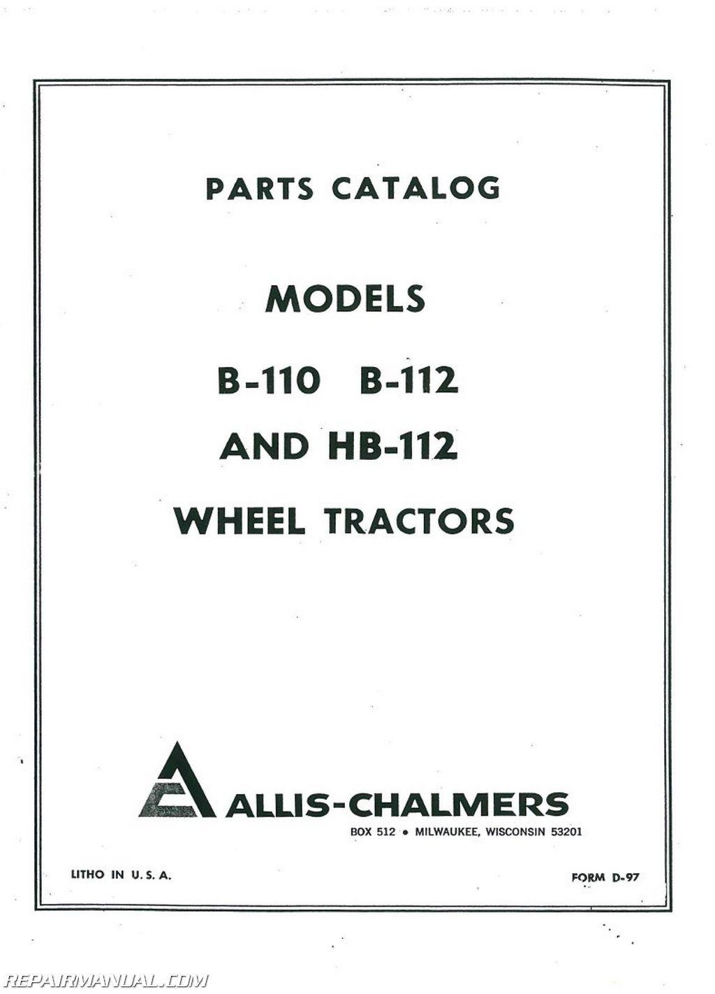 allis chalmers b110 b112 hb112 lawn garden tractor parts manual