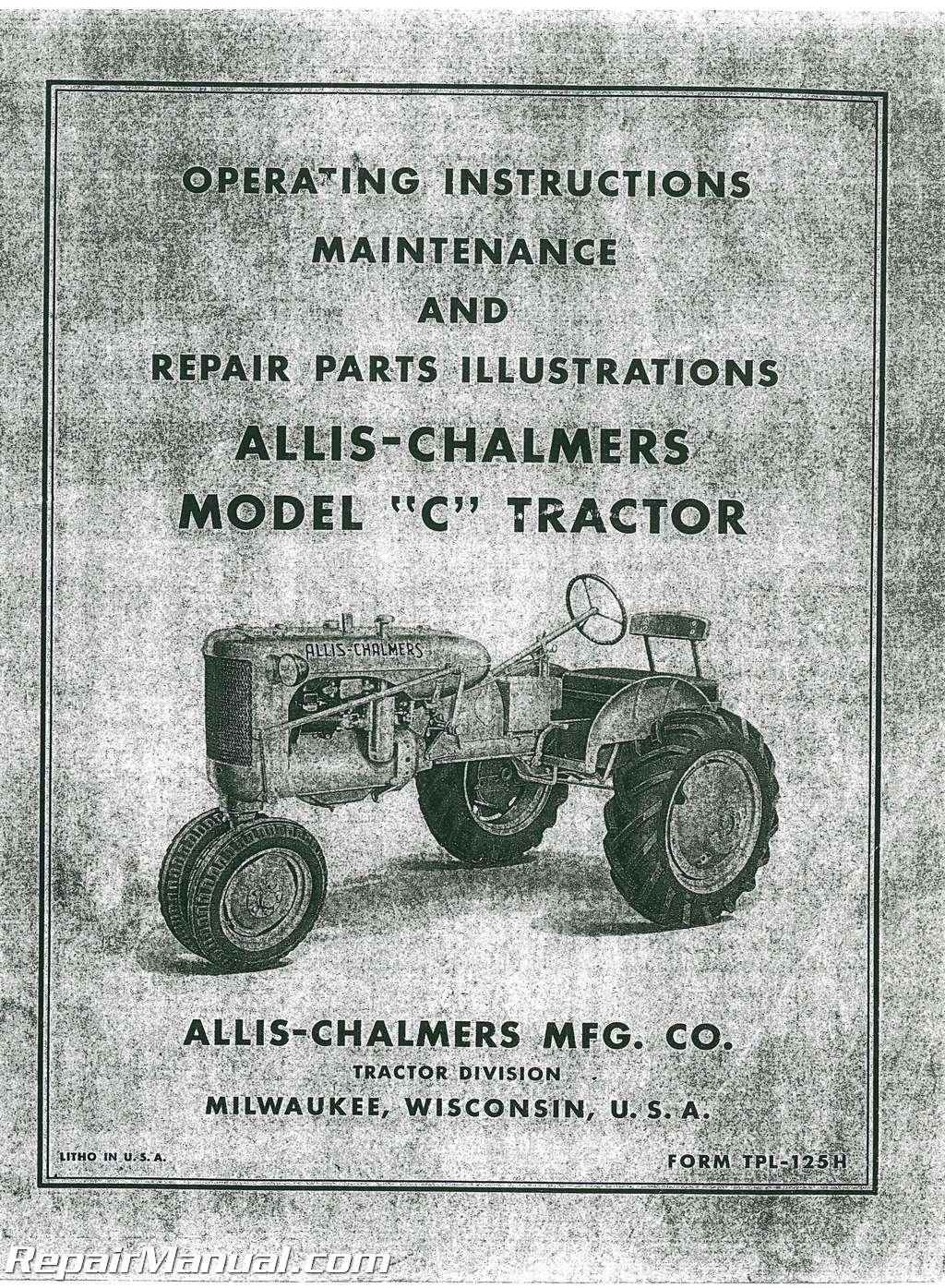 Allis Chalmers C Operators Manual_001 allis chalmers c tractor operators manual