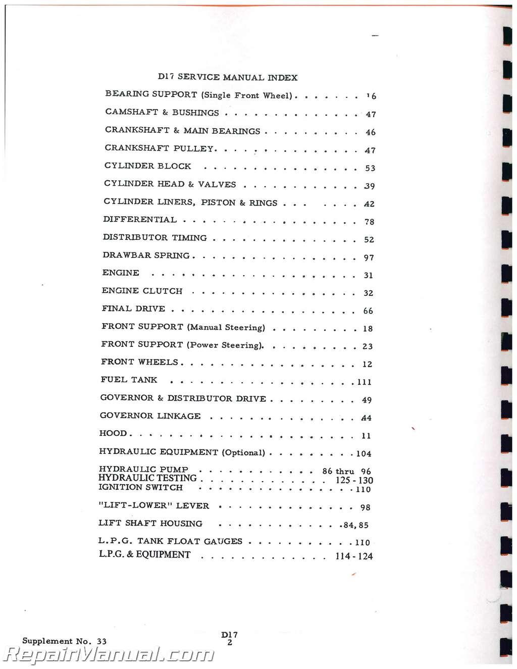 Allis chalmers d17 Free Manual